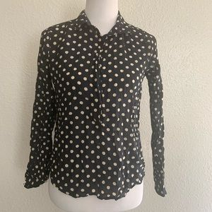 I. Crew black button down with polka dots size S